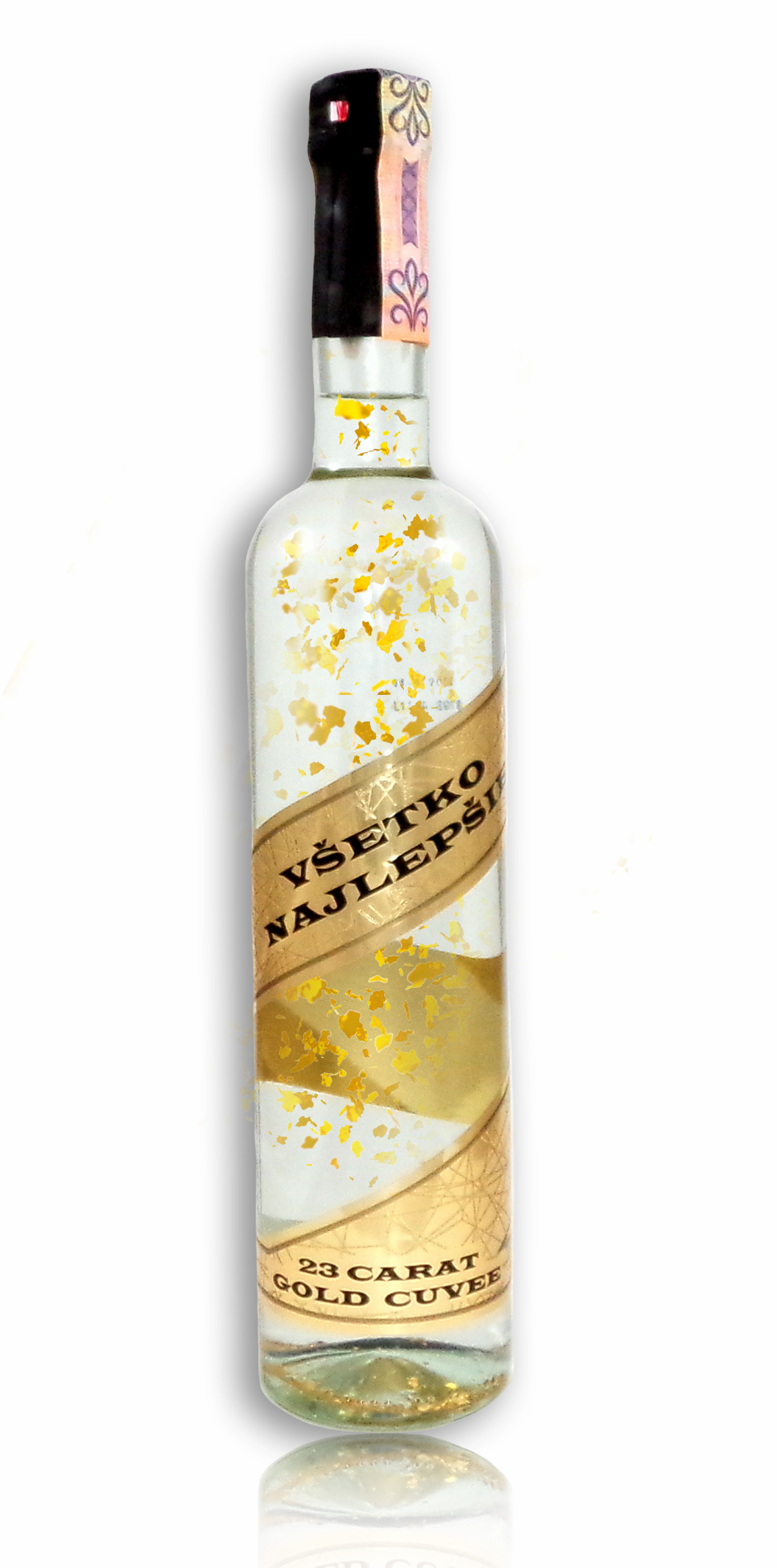 Darčeková fľaša - Vodka so zlatom Všetko najlepšie - zlatá ribbon b7ea4f2f1d1
